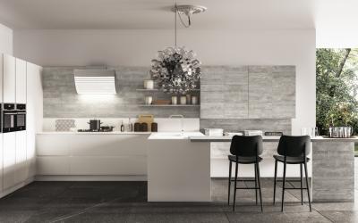 cucina in laminato opaco e laminato legno