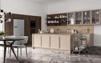 cucina con anta telaio in legno