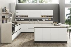 cucina in laccato opaco e legno